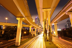 Shanghai Interchange (DMac 5D Mark II) Tags: china city longexposure travel news tourism night yahoo google shanghai traffic chinese photojournalism scene infrastructure roads baidu journalism interchange naver googleimages daum douglasmacdonald
