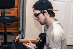 38.365 (frankie091) Tags: boy musician music playing man guy hat contrast canon person rebel 50mm cool guitar jackson 365 t3i 600d 2013 snapback canon600d rebelt3i