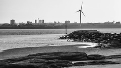 New Brighton (Brian Negus) Tags: wallasey england unitedkingdom liverpool windturbine rivermersey merseyside beach bw newbrighton hometown mersey defences blindphotographers