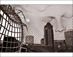 Inside Wonderland by Jaume Plensa (LostMyHeadache: Absolutely Free *) Tags: windows winter urban sculpture art monochrome face lines skyline architecture canon buildings nose wire eyes downtown cityscape skyscrapers mesh head curves overcast wires publicart wonderland lookingout davidsmith jaumeplensa thebow calgaryalbertacanada eos60d