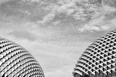 Perfect Shapes of Singapore (Sprengben [why not get a friend]) Tags: city travel summer sky urban art skyline skyscraper observation smog opera singapore asia chinatown shanghai sundown artistic time watch elevator tracks bank casino symmetry divine international formulaone malaysia shoppingmall metropolis foreign hdr linear raffles d800 d4 marinabay d600 travelphotography d90 photomatix thefullerton themerlion thehelix singaporeflyer marinabaysands d700 esplanadetheatresonthebay boatsands formulabay