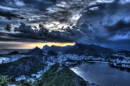 Cristo Redentor (Christ the Redeemer) at sunset...