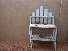 Weathered white potting bench (DaoChi Media) Tags: white bench weathered potting
