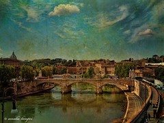 Tiber (amalia lam) Tags: city sky people italy rome roma water colors architecture clouds photoshop canon reflections photography ancient travels ruins holidays europa europe italia photos roman forum cities bridges statues textures rivers tiber trips capitale monuments colori vacations antico eternal lazio distortions ancientrome texturized eternalcity captital amalialampri amalialam
