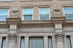 The Franklin Lofts - stucco details (elnina999) Tags: old city sky urban panorama abstract streets detail brick art texture motif stone wall closeup skyline architecture modern night facade train vintage buildings photography design construction ancient nikon mainstreet energy downtown day pattern exterior skyscrapers artistic metro dusk cityhall antique background library tx grunge border cement masonry perspective houston style surface structure dirty historic transportation frame photowalk courthouse material aged rough ornate pillars built stucco chasebuilding kirbylofts