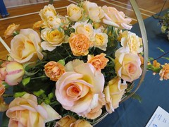 Basket of Roses and garden flowers