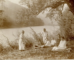 Idyll by the river (elinor04) Tags: family 1920s summer people men cooking fashion vintage river landscape fun photo women picnic riverside outdoor group style 1922 hungarian garam garamrudn