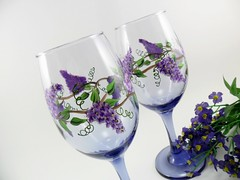 Wine Glasses Hand Painted Lavender Wisteria (Painting by Elaine) Tags: