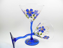Martini Glasses Cobalt Blue Gold Hand Painted (Painting by Elaine) Tags: blue glass glasses painted handpainted cobaltblue whimsical glassware stemware blueflowers martiniglasses blueglasses paintedflowers crookedstem handpaintedflowers handpaintedmartiniglasses paintingbyelaine paintedmartini martiniglassespainted martiniglasshandpainted