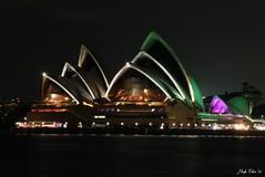 Sydney Opera House (hugh tobin) Tags: nightphotography green water night lights harbour sydney australia circularquay landmark nsw operahouse sydneyharbour sydneyoperahouse earthhour