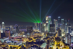 Light Show (David Gn Photography) Tags: show city travel blue light tourism skyline night buildings shopping hotel evening office singapore southeastasia view skyscrapers scenic trails bridges restaurants bank aerial casino entertainment hour laser cbd nightlife beams hdr condominiums mbs clarkequay centralbusinessdistrict singaporeriver 3xp singaporeflyer marinabaysands canoneos60d sigma2470mmf28ifexdghsm