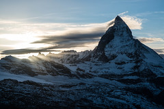 Matterhorn at sunset (lycienjantos) Tags: blue winter sky cloud mountain snow vortex contrast flow evening gornergrat zermatt matterhorn wallis valais mattertal
