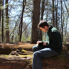 96/365 Writing.. (Scattereee) Tags: trees selfportrait man nature forest writing self woods relaxing peaceful author waldenpond motivating