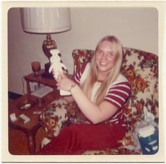 Patti pokes Poppin' Fresh, circa 1973 (STUDIOZ7) Tags: woman girl character ad minneapolis smoking advertisement teen commercial teenager 70s 1970s cigarettes smoker seventies pillsbury doughboy generalmills poppinfresh