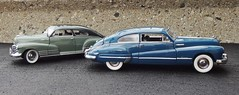 1948 Chevrolet Fleetline AeroSedan & 1948 Buick Roadmaster Sedanette (JCarnutz) Tags: 1948 chevrolet buick fleetline diecast roadmaster 124scale danburymint sedanette aerosedan