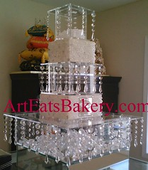 Three tier crystal chandelier cake stand and separaters. Can be done for different size cakes and cupcakes.  Rents for $45. (arteatsbakery) Tags: birthday wedding sc cake design baker picture columbia anderson bakery custom greenville clemson mauldin greer fondant simpsonville bakerygreenville