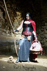 Red Riding Hood (Red 5 Photography) Tags: red black castle fairytale dark wolf basket mask boots cosplay tunnel skirt rope littleredridinghood sword corset cape cave cloak blackhair prop redridinghood noose steampunk rockswater wolfhead darkfairytale