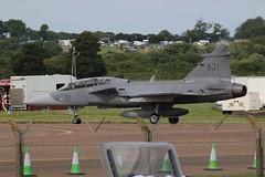 Gripen 821. (aitch tee) Tags: aircraft arrivals raffairford swedishairforce saabgripen riat2016 gripen821 royalinternationalairtattoo2016 wednesday6july2016