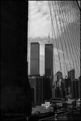 World Trade Center seen from Brooklyn Bridge - nov 8 1994 - Agfa APX 25 (Jorge Vasconcelos Photos) Tags: 35mm agfaapx25 american analogphotography analoguephotography architecture bw blackwhite blackandwhite bridge brooklynbridge building buildingexterior buildings camerasfilms city cityview cityscape filmphotography jvasconcelos jorgevasconcelos newyork newyorkcity nikonf3 nikonscanner ny nyc otherkeywords outdoor outdoors pb people places pretoebranco twintowers vertical worldtradecenter wtc usa