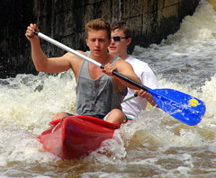 23.8.16 Vyssi Brod Weir 199 (donald judge) Tags: czech republic south bohemia vyssi brod weir boats rafts canoes river vltava