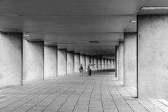 in the colonnade (Blende1.8) Tags: urban city stadt rotterdam säulengang arcade colonnade blackandwhite black white mono monochrome monochrom schwarz weiss menschen people mann frau man woman street outdoor couple paar leica dlux 109