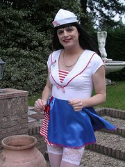 Sailor girl (Paula Satijn) Tags: carnival sexy stockings girl legs skirt tgirl sailor satin miniskirt gurl