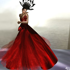Soul.Meets.Soul.On.Lovers'.Lips. ~ Percy Shelley (www.anchailinalainn.com) Tags: red portrait fashion pose model dress modeling lace formal silk sl gown valentina caoimhe backless desir groupgift vivienemerald