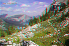Hints of Upper Kananaskis Lake - 3D (Marc Shandro) Tags: canada mountains nature clouds landscape rockies stereoscopic stereophoto 3d view scenic anaglyph alpine wilderness redcyan