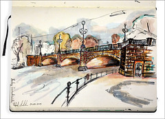 Hamburg Lombardsbrcke (rafaelmucha) Tags: moleskine pen ink notebook sketch hamburg sketchbook alster aquarell lombardsbrcke