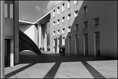 High Noon II (frischauge) Tags: city shadow 2 two sky urban blackandwhite bw cloud sun white building monochrome museum architecture contrast canon germany concrete four town back couple bonn pattern geometry 4 columns architektur sw column highnoon noon tamron efs gebude ef mile geometrie museummile geometrisch museumsmeile 550d wwwfrischaugede wsarchitecture