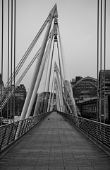 (The New Motive Power) Tags: city morning bridge blackandwhite london thames modern contrast river design early quiet crossing footbridge empty perspective pedestrian structure hungerford convergence distance deserted canon7d