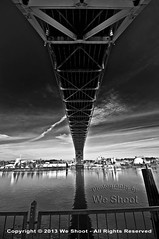 Fremont Bridge (weeviltwin) Tags: travel bridge blackandwhite usa water river portland or structure fremont underside span willamette spanning weshootcom