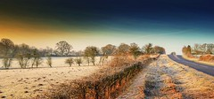 The road (Eric Goncalves) Tags: road morning trees light sky cold color ice sunrise landscape frost gloucestershire edge nikond7000