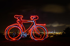 First Attempt at Light Painting (ibikenz) Tags: longexposure bike bicycle night downtown reservoir auckland skytower healing denis forresthill bicyclecommuter rx100 12speed sonycybershotdscrx100