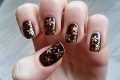 Flower nails (jana7800) Tags: new nyc flowers autumn light brown hot flower art floral glitter dark print gold golden design hands nail fingers dot dotted midtown nails mink oh dots nailpolish shimmer nailart goldfinger goldness catrice