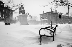 Longfellow/Snow (Corey Templeton) Tags: city winter snow statue bench portland blackwhite other downtown nemo maine snowstorm newengland portlandmaine february blizzard drifts westend longfellow congressstreet longfellowsquare 2013