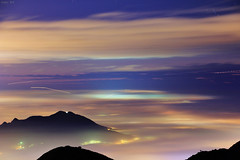 Zen (Singer ) Tags: sunset sea sky mist fog clouds canon airplane lights star taiwan trail singer  taipei        nightscenes  seaofclouds                   singer186       glazedclouds