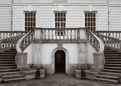 Greenwich PentaxPanF 007 (ChasBed4d) Tags: sea building film monochrome pentax greenwich staircase oldbuilding queenshouse stonebuilding