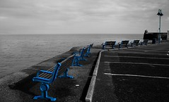 Looking out on a very grey sea - HBM! (Jo Evans1 - Off and on for a while) Tags: sea sky cold colour bench grey harbour pop monday pembrokeshire saundersfoot hbm