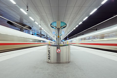 Berlin Hauptbahnhof #XIII (Alexander Rentsch) Tags: city longexposure urban white signs berlin ice lines architecture modern train germany underground deutschland typography lights design movement pattern bright metro geometry symmetry clean hauptbahnhof transit technical future bewegung scifi architektur sauber deutschebahn mitte utopia raster lichter graphical zeichen langzeitbelichtung geometrie technisch grafisch symmetrie linien canoneos5dmarkiii canontse17mmf4l
