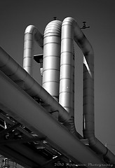 THE INVERTED P TRAP (Darkmoon Photography) Tags: blackandwhite industry oklahoma industrial pipes tube gimp steam pipage
