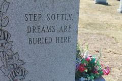 Step Soft. (xhappyendings) Tags: cemetery quote step dreams softly