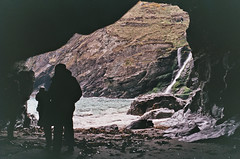 Cavern (jrmeyerphoto) Tags: ocean family shadow sea cliff film beach nature silhouette rock 35mm landscape outdoors coast waterfall nikon rocks cornwall waves shadows cliffs coastline cave analogue f80 cavern fujisuperia400 shootingonfilm