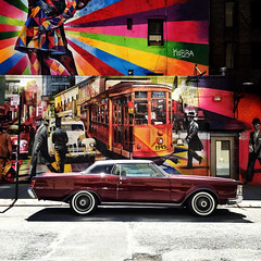 Hot Rod Lincoln (Frankenstein) Tags: street nyc newyorkcity streetart ny art car guesswherenyc squareformat lincoln gothamist photostream iphone iphoneography gszguessed instagramapp