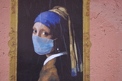 Perla. (RO.BO.COOP.) Tags: streetart roma pasteup poster smog mask urbanart pearl vermeer perla posterart raffaello leonardodavinci arteurbana pearlearring robocoop streetartrome smogproject