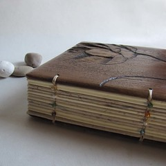 Lotus journal  -spine (LACUNA work) Tags: names personalized photoalbum recycledpaper portugese blankjournal upcycled landscapealbum woodencovers reclaimedfurniture handmadewedding woodwook woodlandwedding woodenjournal carvedcovers personalizedabum lacunawork