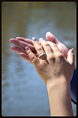 She Said Yes (Javier Scheuermann) Tags: park new york city bridge lake engagement central husband ring bow wife proposal