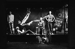 Nightshift (martinpmayer) Tags: schwrmontag ulm bw mono street people dancers dummy manikin night dark