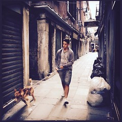Walking the Dog (Penseroso) Tags: italy venice streetphotography iphone iphoneography mobilephotography travelphotography travel travellight alley dog
