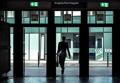 Decisions (thewhitewolf72) Tags: berlin friedrichstrase bahnhof sbahn tren pfeile mann silhouette grn ausgang notausgang museum reichstagufer mitte gehen verlassen entscheiden whlen schritt tasche wegweiser